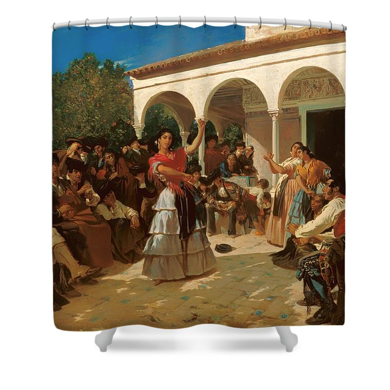 Painting Shower Curtain featuring the painting A Gypsy Dance In The Gardens Of Alcazar by Mountain Dreams