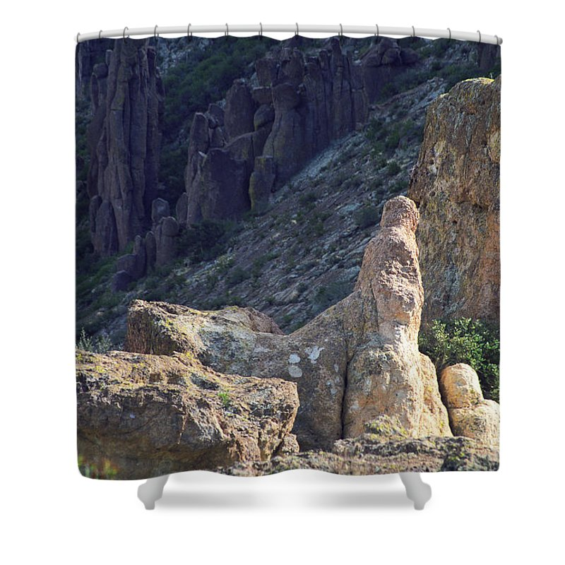 Rock Formations Shower Curtain featuring the photograph A Hard Ride by Kathy McClure