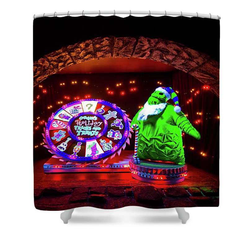 Disney Shower Curtain Featuring The Photograph A Haunted Mansion Christmas By Mark Andrew Thomas