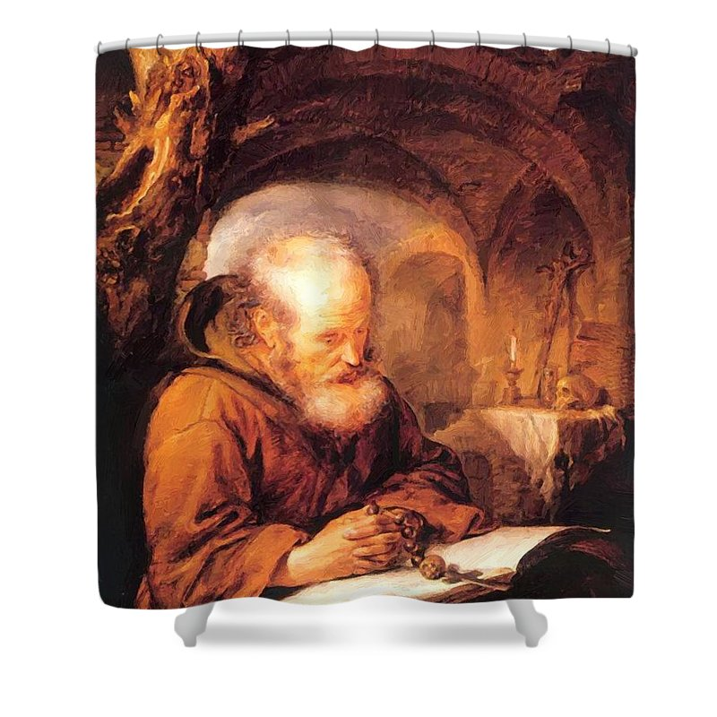 A Shower Curtain featuring the painting A Hermit Praying 1670 by Dou Gerrit