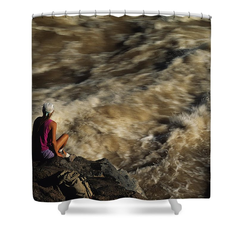 Colorado River Shower Curtain featuring the photograph A Hiker Scans Lava Rapids by Bill Hatcher