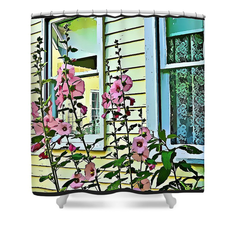 Holly Hocks Shower Curtain featuring the digital art A Holly Hocks Morning by Mindy Newman