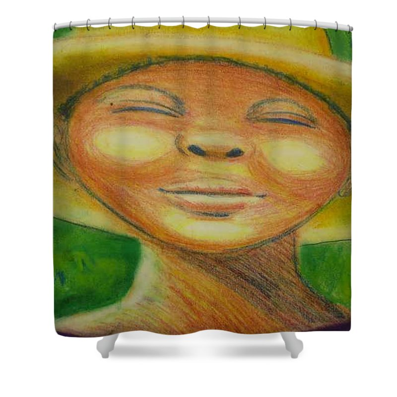Drawing Shower Curtain featuring the drawing A Hot Summer Day by Jan Gilmore