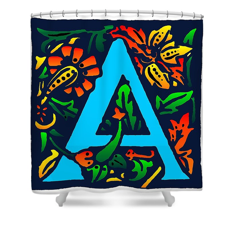 Alphabet Shower Curtain featuring the digital art A In Blue by Kathleen Sepulveda