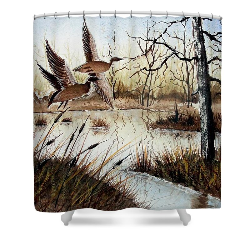 Art Shower Curtain featuring the painting A 'jerry Yarnell' Study by Jimmy Smith