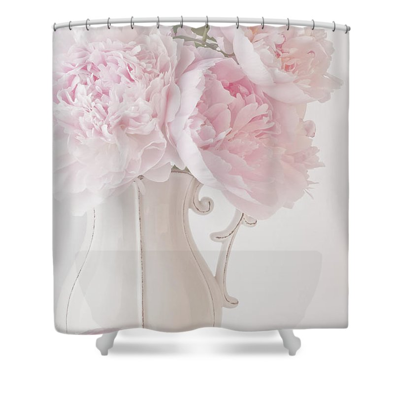 A Jug Of Soft Pink Peonies Shower Curtain For Sale By Sandra Foster
