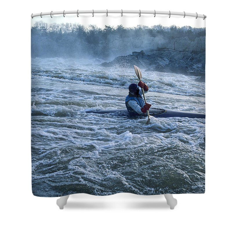 Skill Shower Curtain featuring the photograph A Kayaker Takes On White Water Rapids by Kenneth Garrett