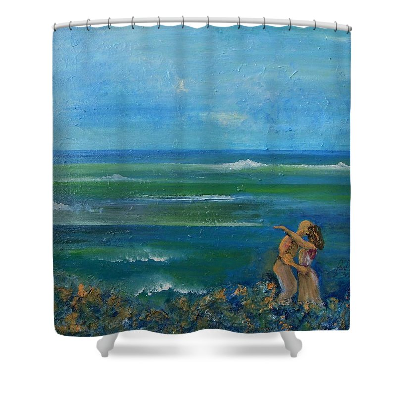 Shower Curtain featuring the painting A kiss in the ocean by Carol P Kingsley