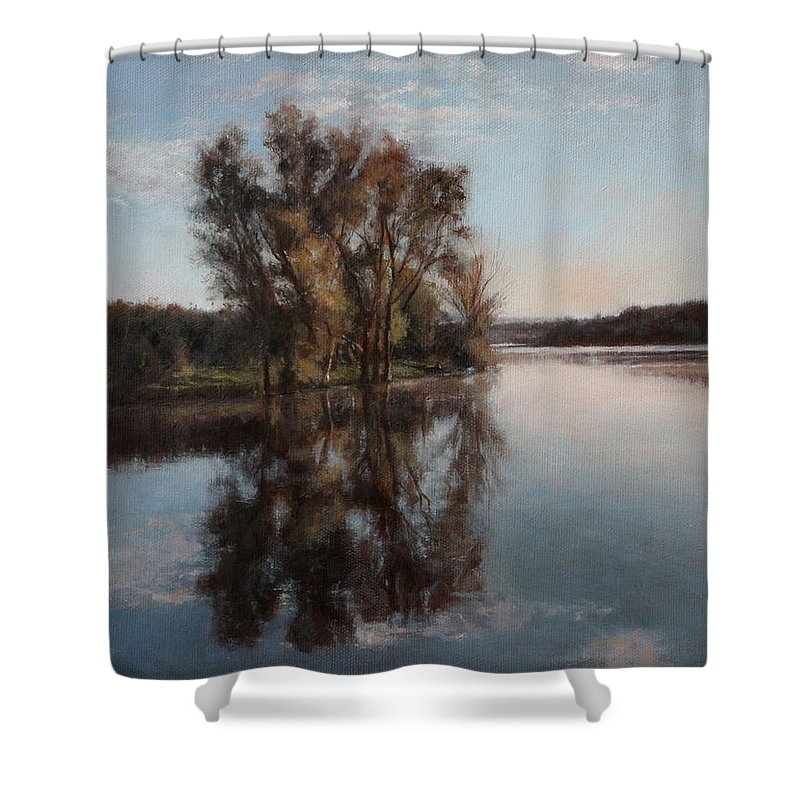 Realism Shower Curtain featuring the painting A Lake by Darko Topalski
