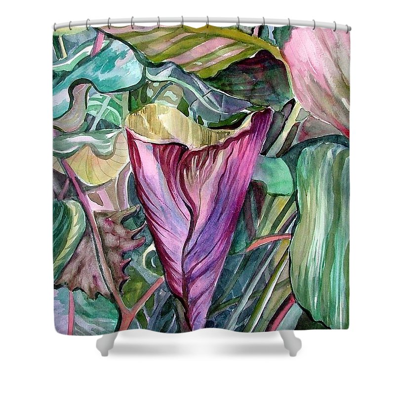 Garden Shower Curtain featuring the painting A Light in the Garden by Mindy Newman