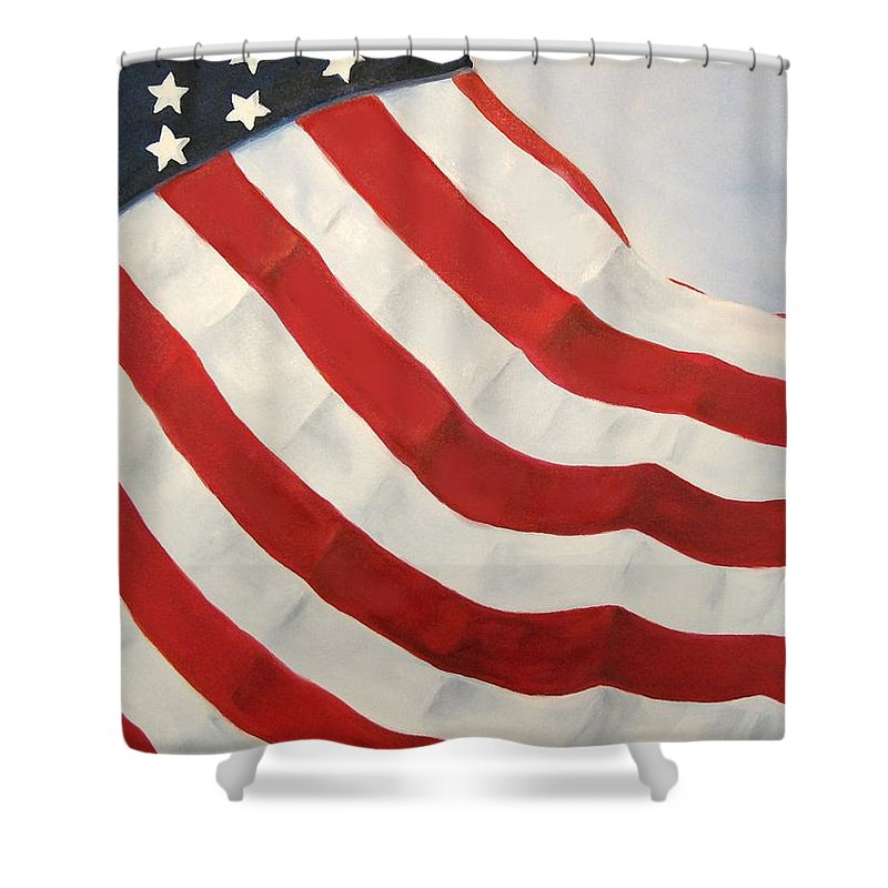 Flag Shower Curtain featuring the painting A Little Glory by Carol Sweetwood