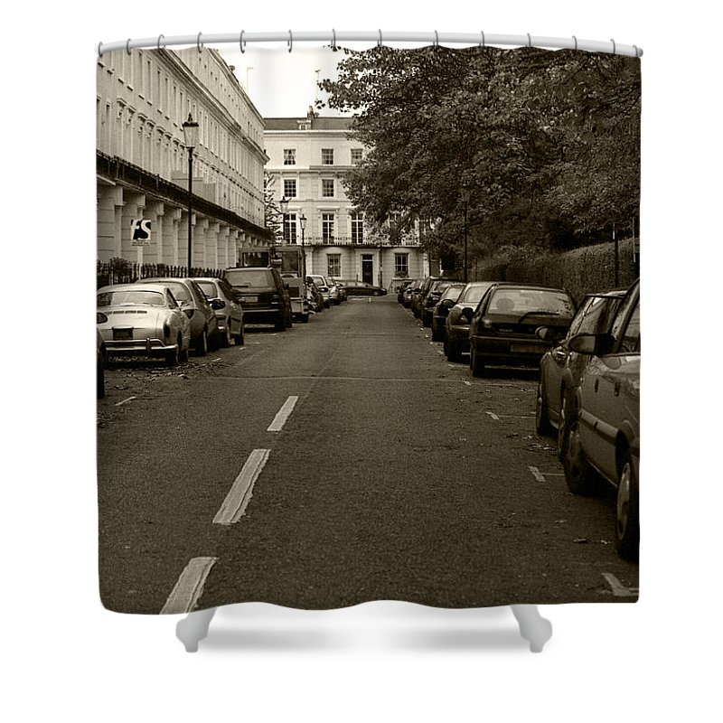 Travel Shower Curtain featuring the photograph A London Street II by Ayesha Lakes