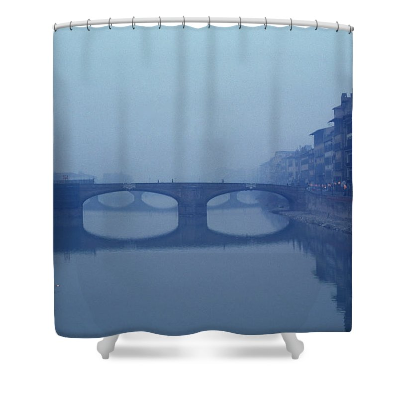 Florance Shower Curtain featuring the photograph A Lone Boat On The Arno River by Bill Hatcher