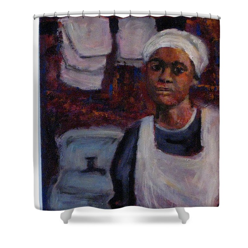 Woman Shower Curtain featuring the painting A Long Day by Connie Freid