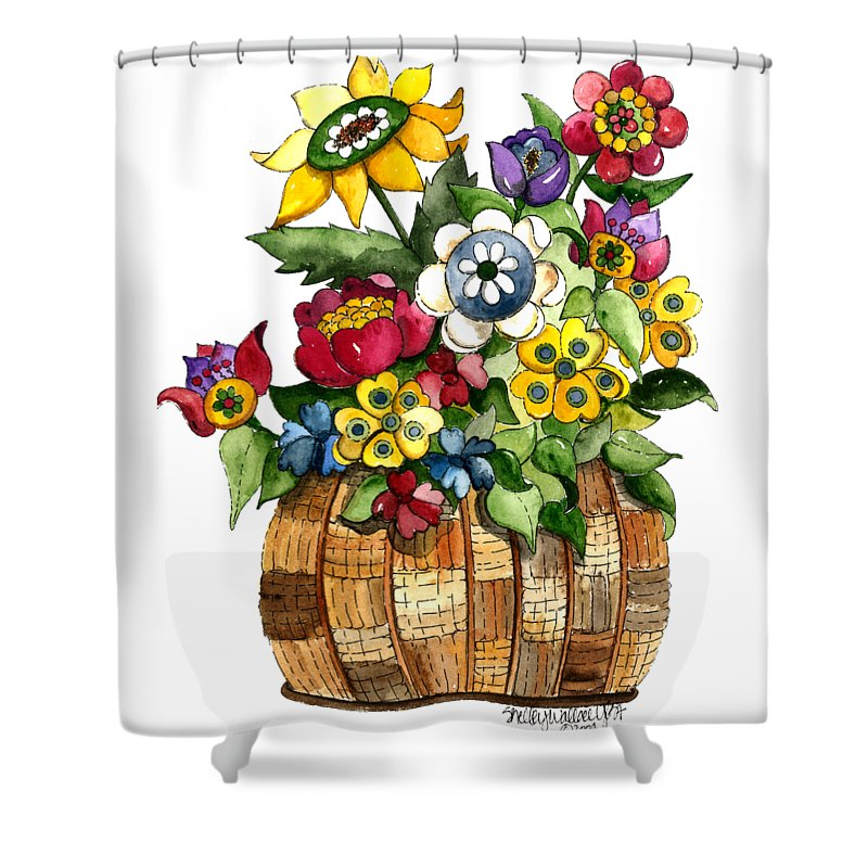 Basket Shower Curtain featuring the painting A Lovely Basket Of Flowers by Shelley Wallace Ylst