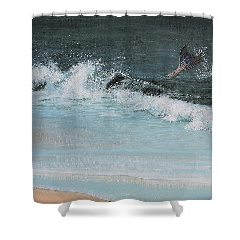 Mermaid I Shower Curtain featuring the painting A Magical Moment by Patty Moramarco