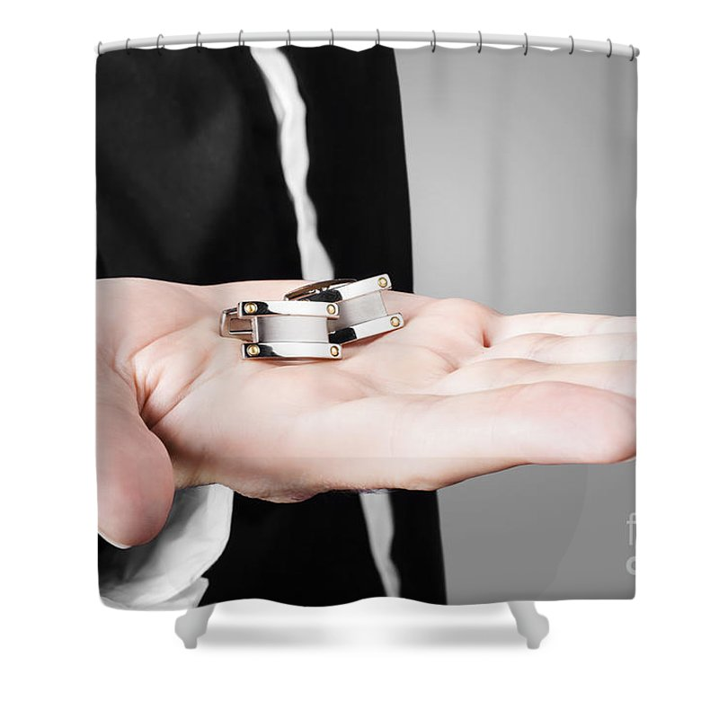Model Shower Curtain featuring the photograph A Male Model Showcasing Cuff Links In His Hand by Jorgo Photography - Wall Art Gallery