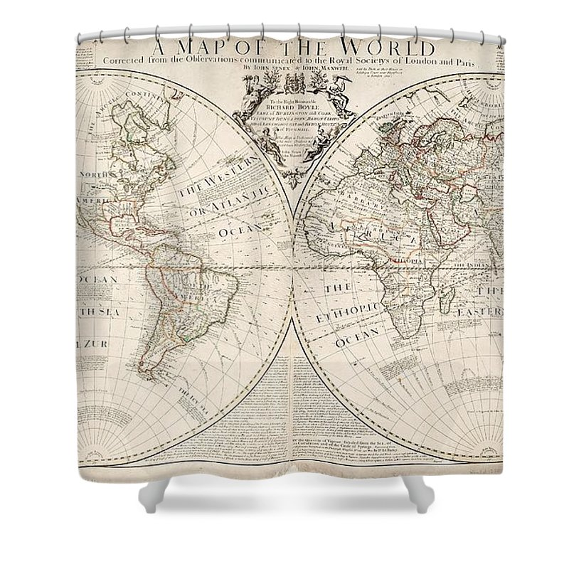 Map Shower Curtain featuring the painting A Map of the World by John Senex
