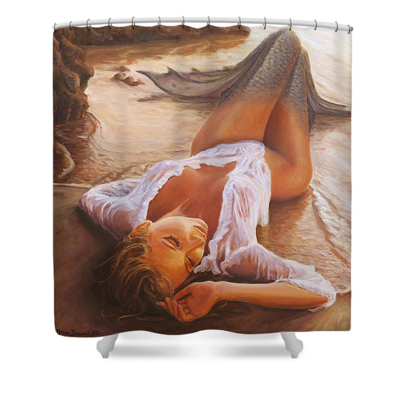 Mermaid Siren Sensual Sunset Sea Water Lady Sexy Shower Curtain featuring the painting A Mermaid In The Sunset - Love Is Seduction by Marco Busoni