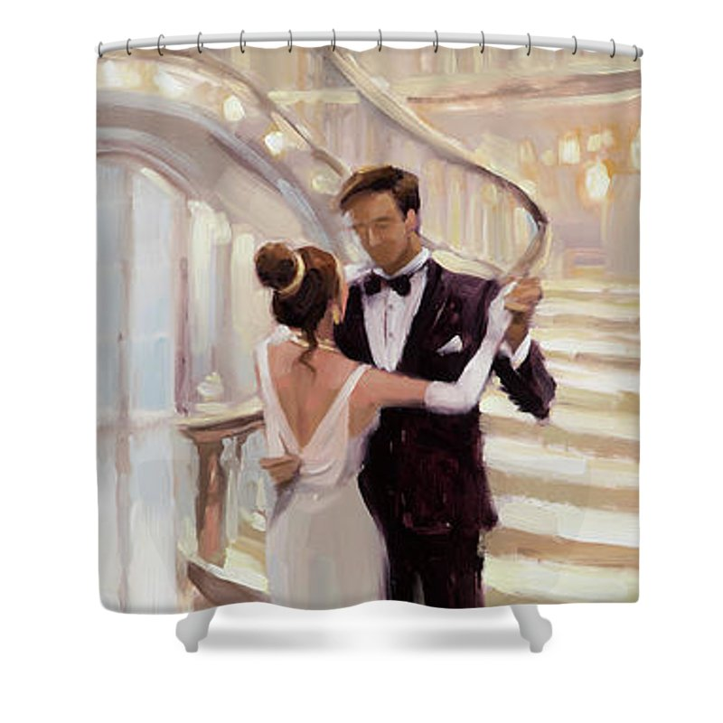 Romance Shower Curtain featuring the painting A Moment in Time by Steve Henderson