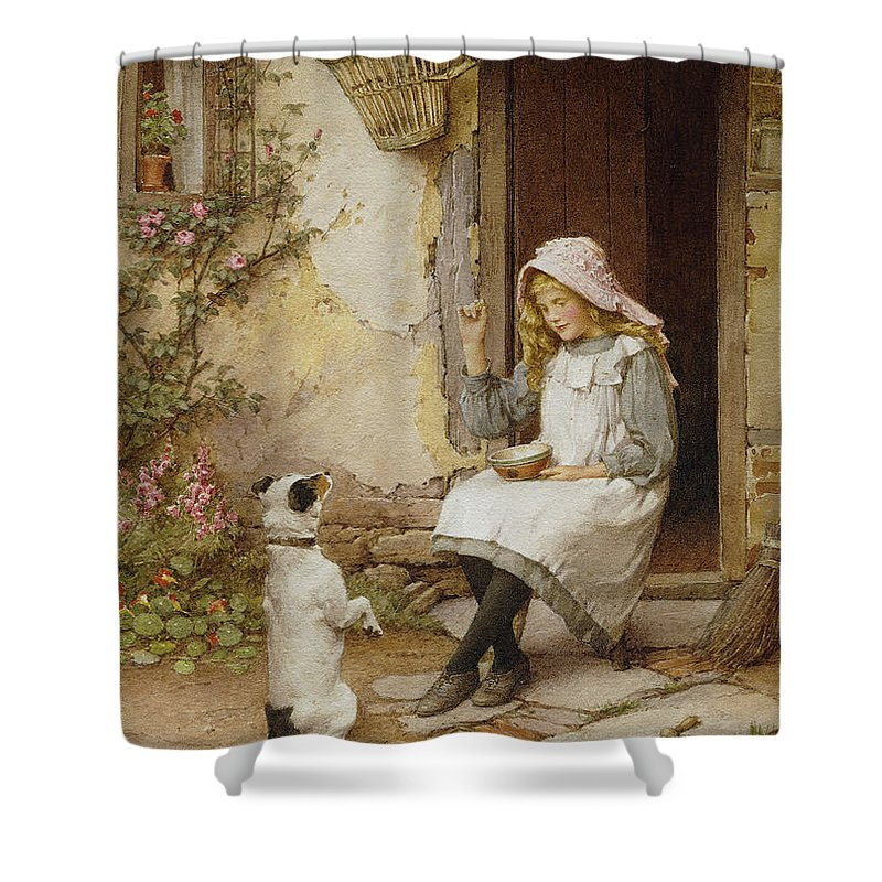 Terrier Shower Curtain featuring the painting A Mute Appeal by Charles Edward Wilson