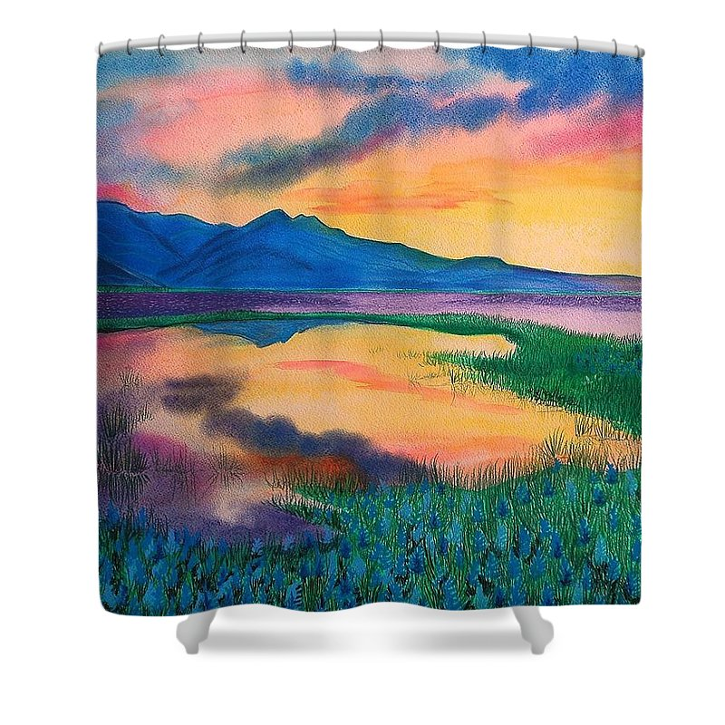 Landscape Shower Curtain featuring the painting A new beginning by Ramneek Narang