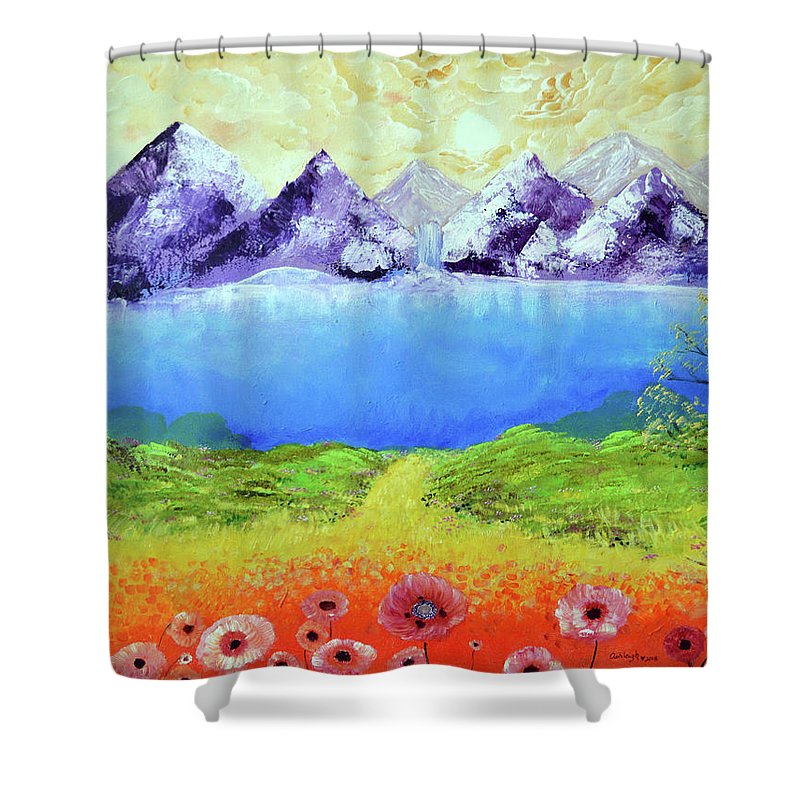 Chakra Painting Shower Curtain featuring the painting A New Tomorrow by Ashleigh Dyan Bayer