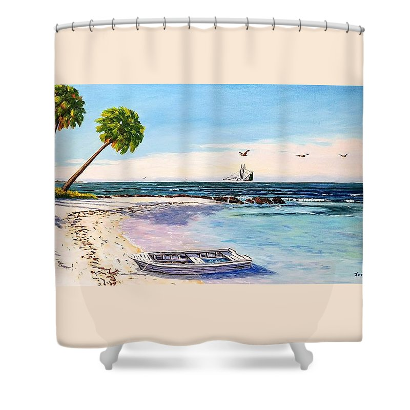 Gulf Shower Curtain featuring the painting A Nice Day At The Beach by Jerry SPANGLER