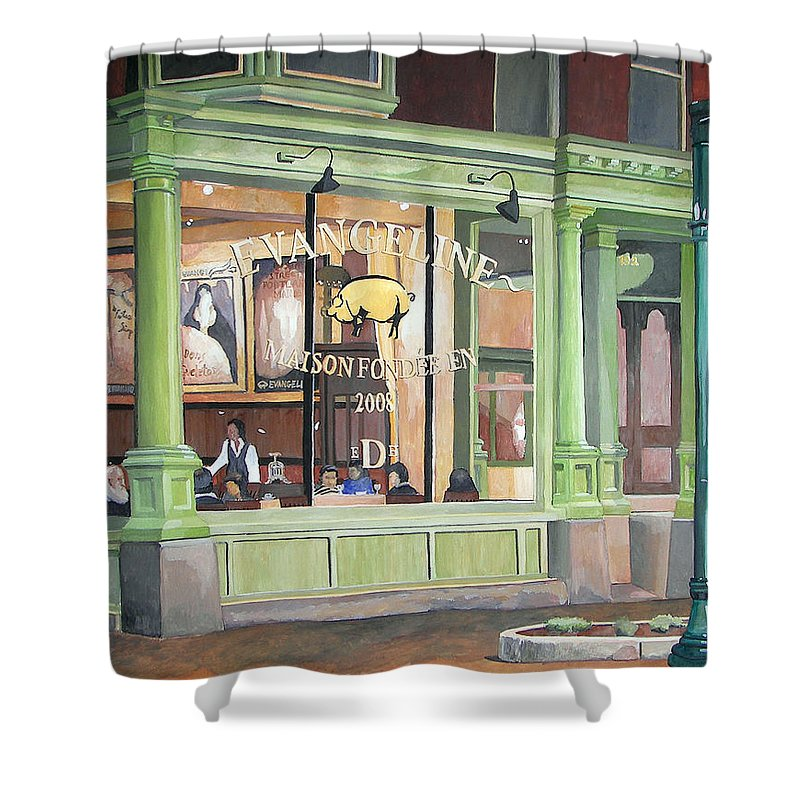 Restaurant Shower Curtain featuring the painting A Night At Evangeline by Dominic White