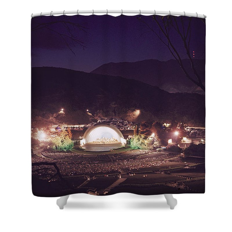 hollywood Bowl Shower Curtain featuring the photograph A Night Performance At The Hollywood by B. Anthony Stewart