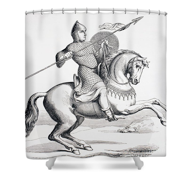 Knight Shower Curtain Featuring The Drawing A Norman Dressed In Chain Mail And Helmet Carrying