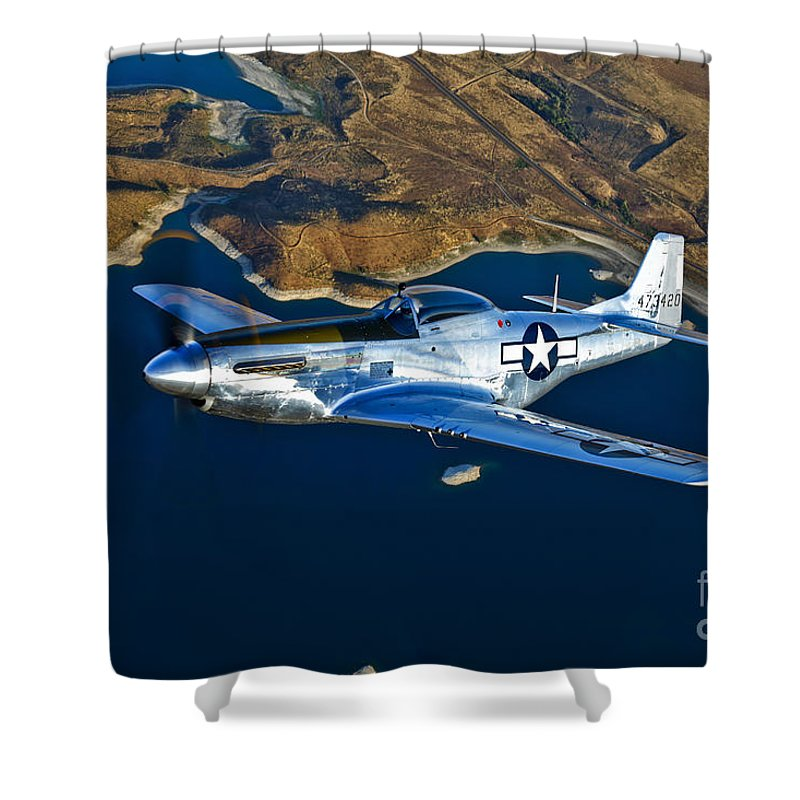 Horizontal Shower Curtain featuring the photograph A North American P-51d Mustang Flying by Scott Germain