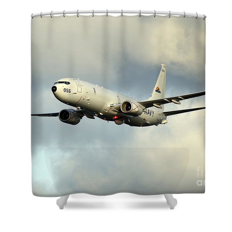 Exercise Bold Alligator Shower Curtain featuring the photograph A P-8a Poseidon In Flight by Stocktrek Images