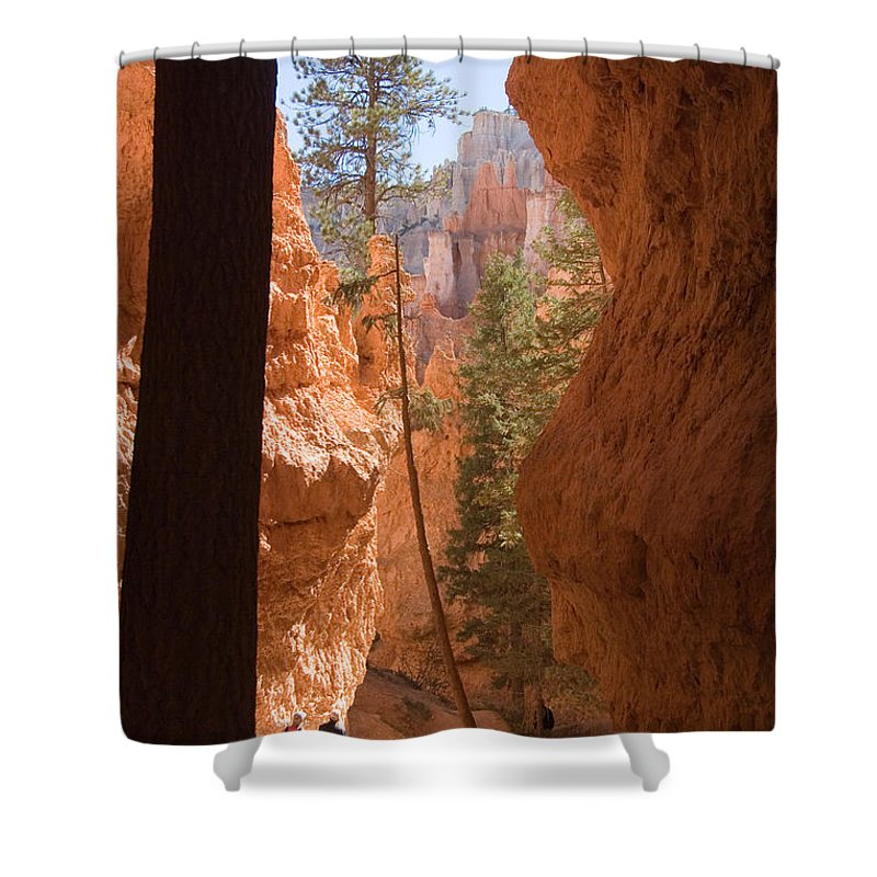 Canyons Shower Curtain featuring the photograph A Pair Of Hikers Go by Taylor S. Kennedy