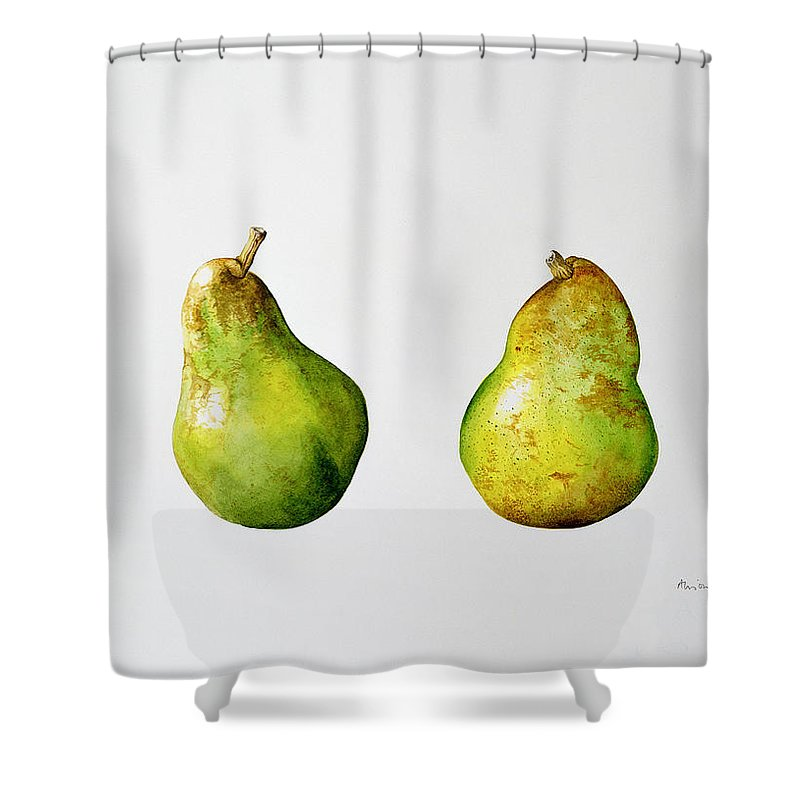Fruit Shower Curtain featuring the painting A Pair Of Pears by Alison Cooper