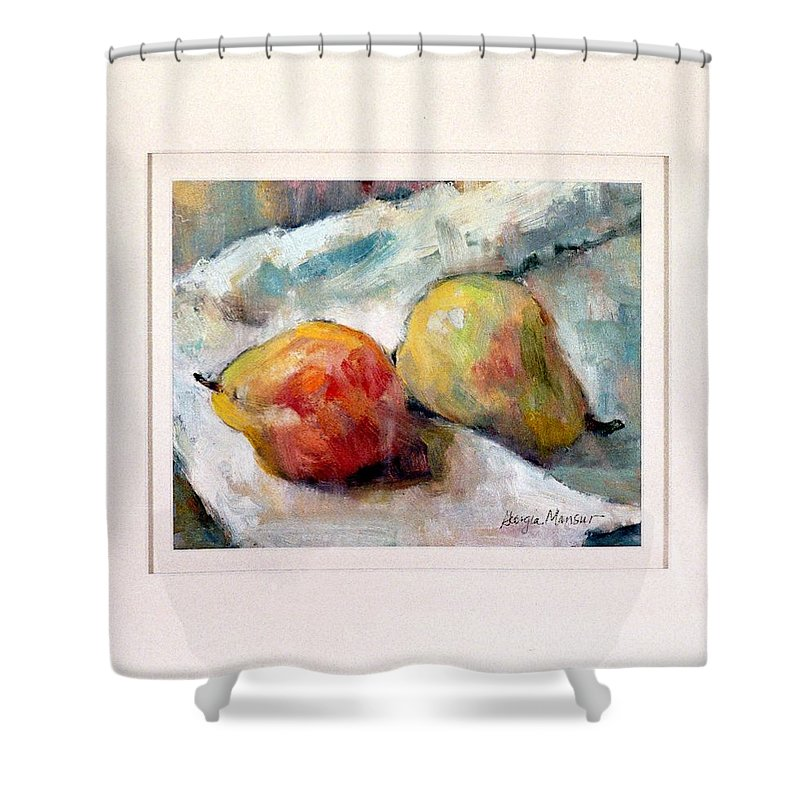 Pears Shower Curtain featuring the painting A Pair Of Pears by Georgia Mansur