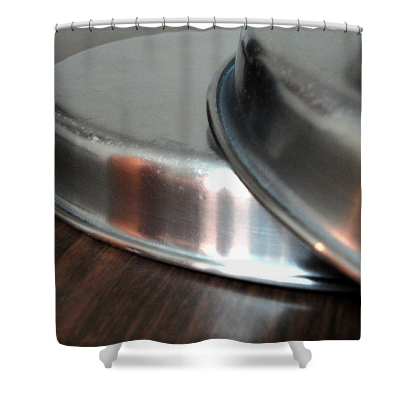 Pair Shower Curtain featuring the photograph A Pair Of Steel Plates by Usha Shantharam