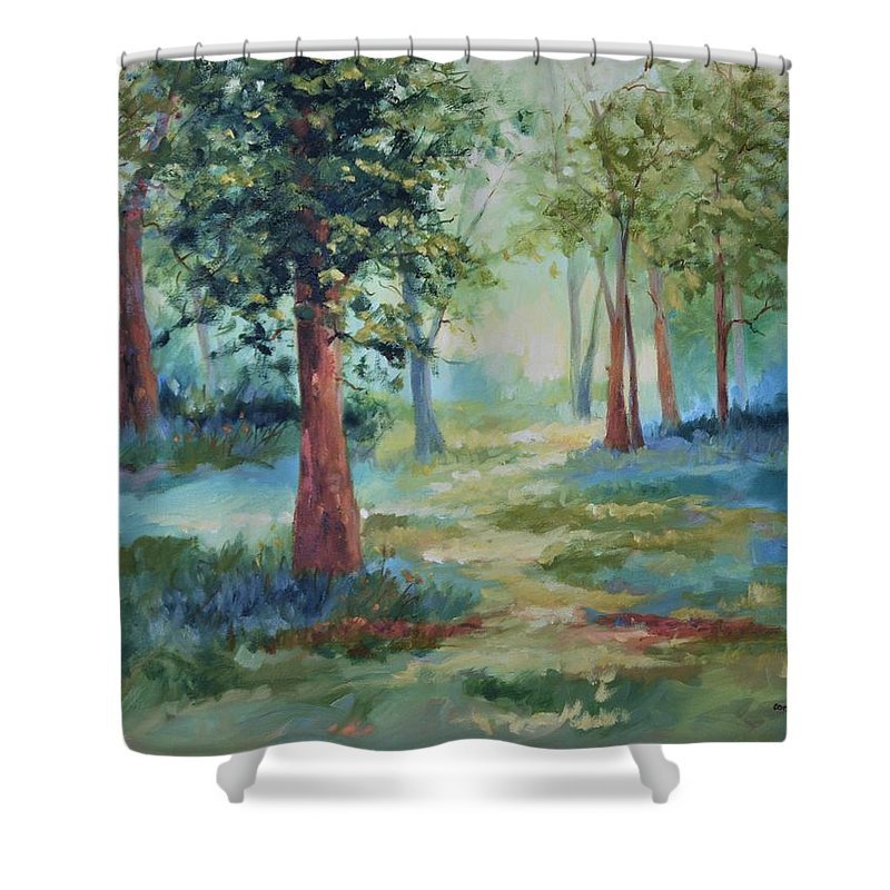 Trees Shower Curtain featuring the painting A Path Not Taken by Ginger Concepcion