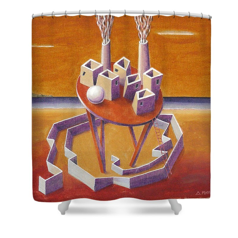Metaphysical Symbolic Sureal Surrealist Greece Greek Landscape Factory Architecture Seascape Ball Shower Curtain featuring the painting A Peasents Dream by Dimitris Milionis