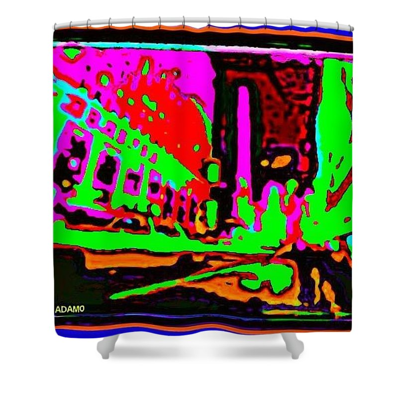 A Peter Max City Shower Curtain featuring the digital art A Peter Max City by Tony Adamo