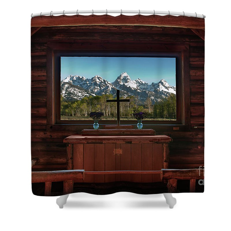 Hdr Shower Curtain featuring the photograph A Pew With A View by Sandra Bronstein