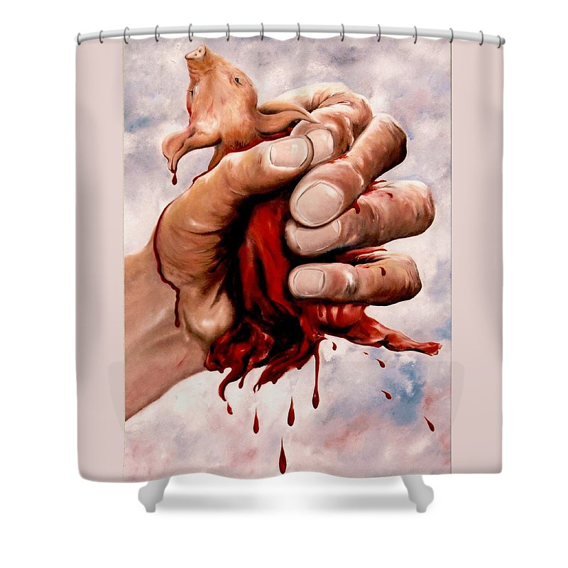 Surreal Shower Curtain featuring the painting A Pigs Life by Mark Cawood