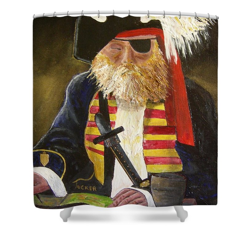Pirate Shower Curtain featuring the painting A Pirate's Life by David Earl Tucker