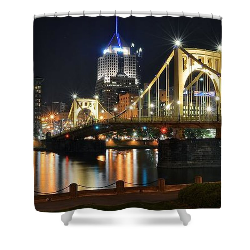 Pittsburgh Shower Curtain featuring the photograph A Pittsburgh Panorama by Frozen in Time Fine Art Photography