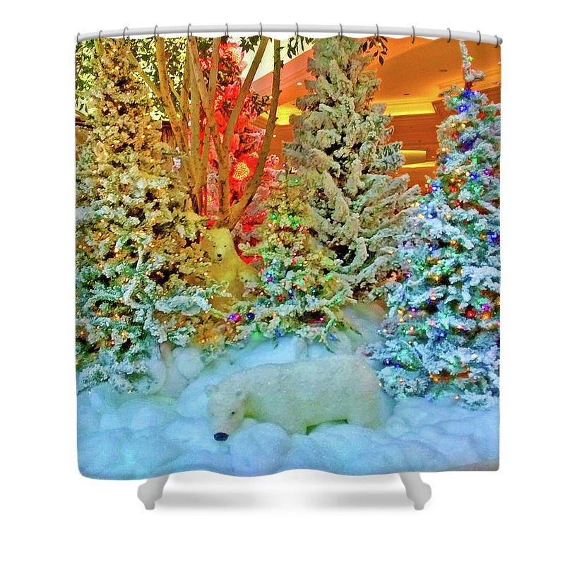 Digital Art Shower Curtain featuring the digital art A Polar Bear Christmas 2 by Marian Bell