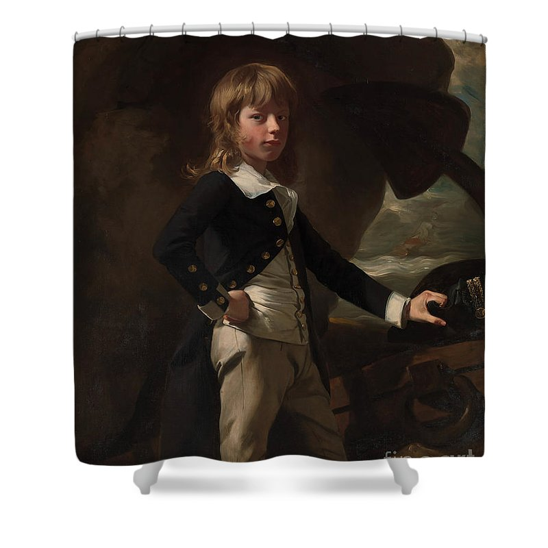A Portrait Of Midshipman Augustus Brine Shower Curtain featuring the painting A Portrait Of Midshipman Augustus Brine by Celestial Images