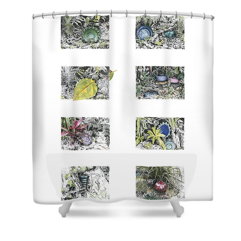 Tropical Shower Curtain featuring the drawing A Potters Garden by Kerryn Madsen-Pietsch