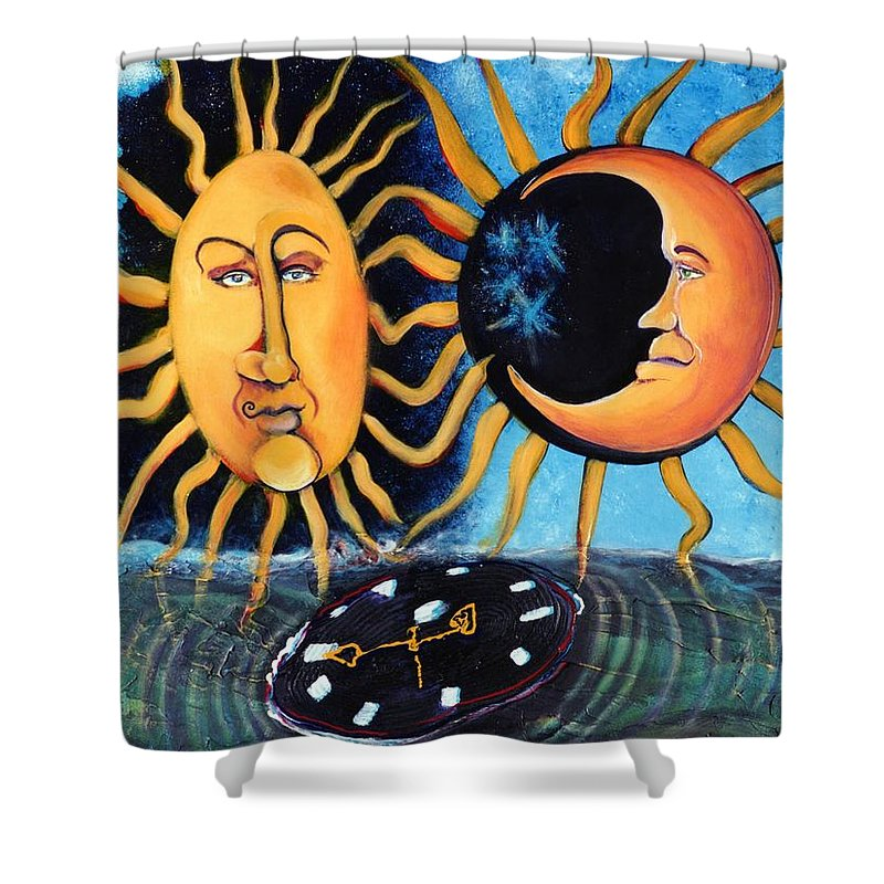 Sun Shower Curtain featuring the painting A Quarter Til Becoming One by Dennis Tawes