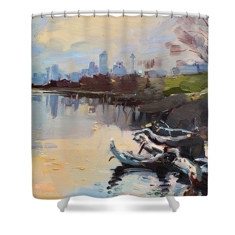 Landscape Shower Curtain featuring the painting A Quiet End Of Day by Ylli Haruni