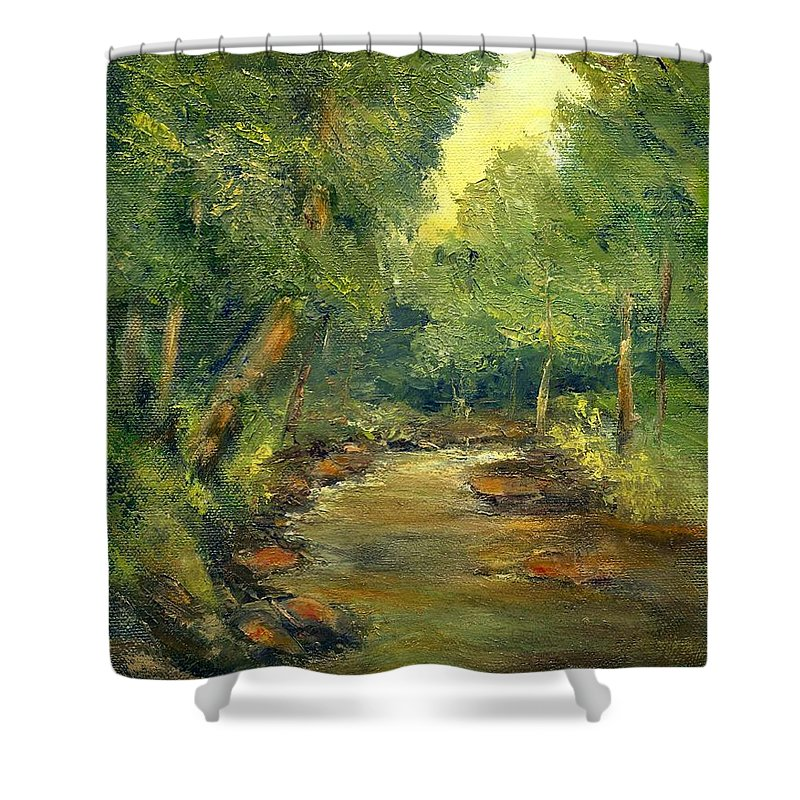 Creek Shower Curtain featuring the painting A Quiet Place by Gail Kirtz